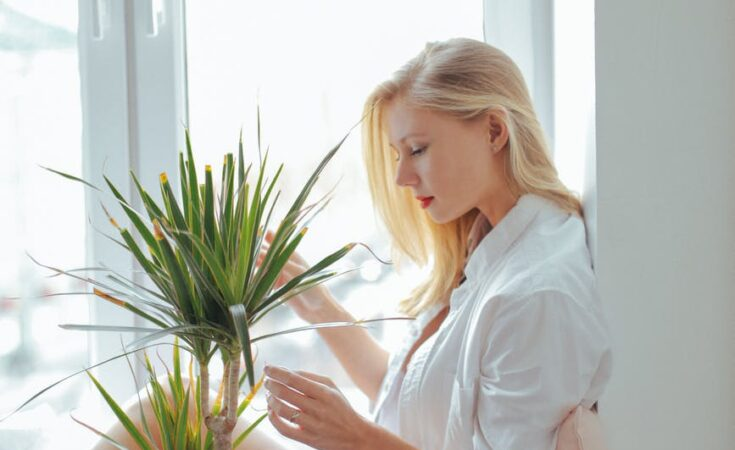 woman wearing white long sleeved shirt sitting beside green plant